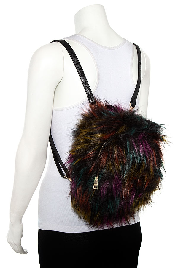 FAUX FUR FASHION BACKPACK - orangeshine.com