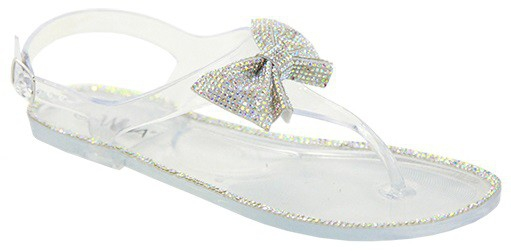 RHINESTONE BOW JELLY PVC SANDALS - orangeshine.com