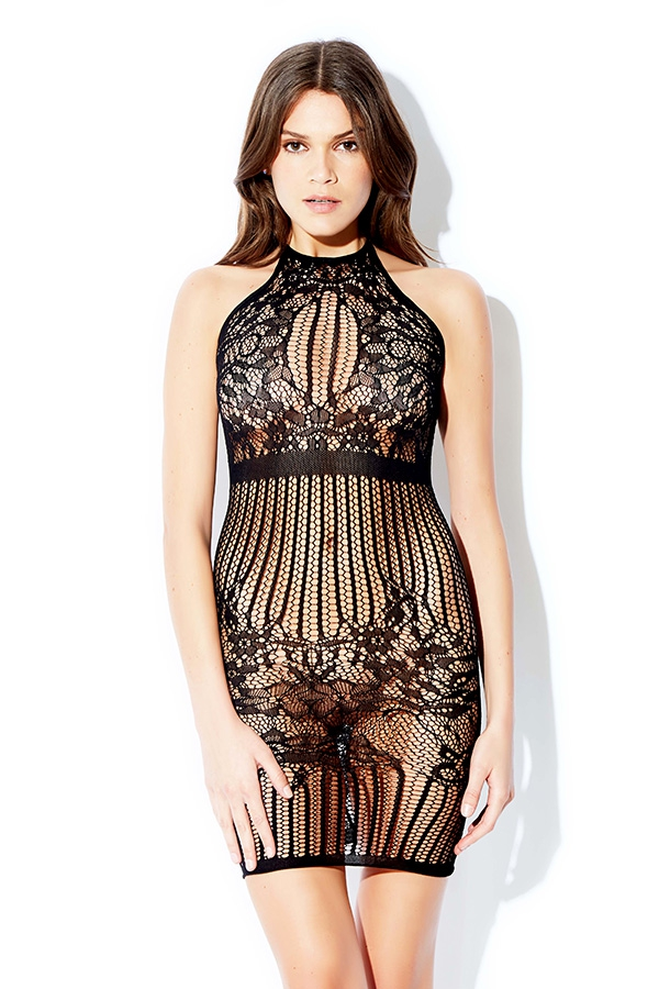 Halter Striped Mesh Chemise - orangeshine.com
