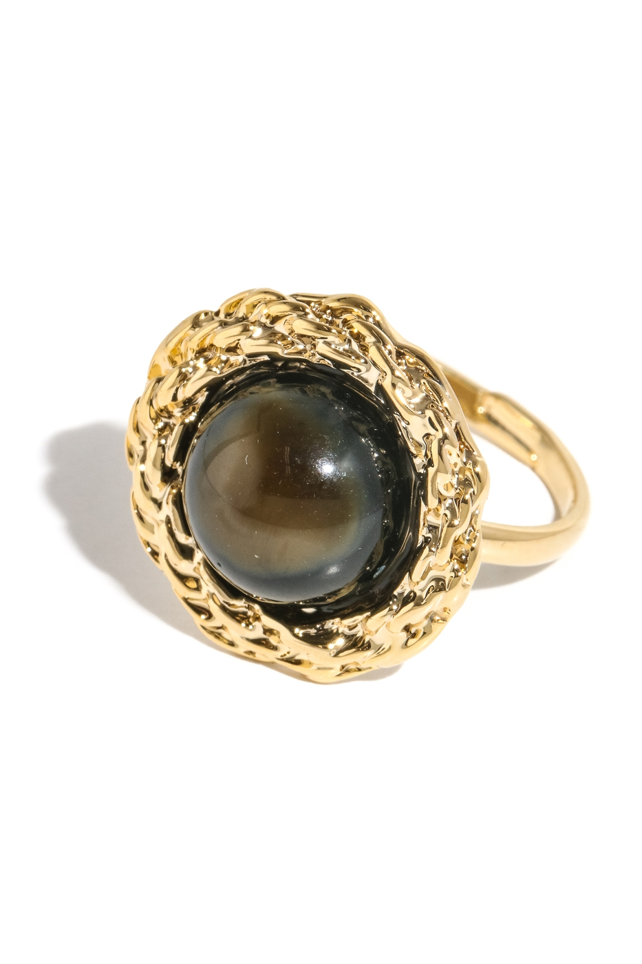 Round Faux Gem Charm Band Ring - orangeshine.com
