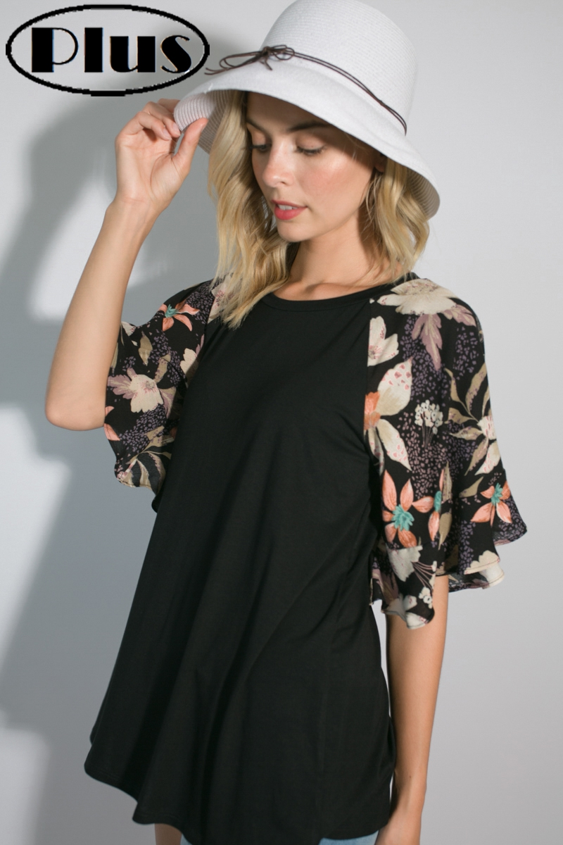 FLORAL MIXED RUFFLE SLEEVE PLUS TOP  - orangeshine.com