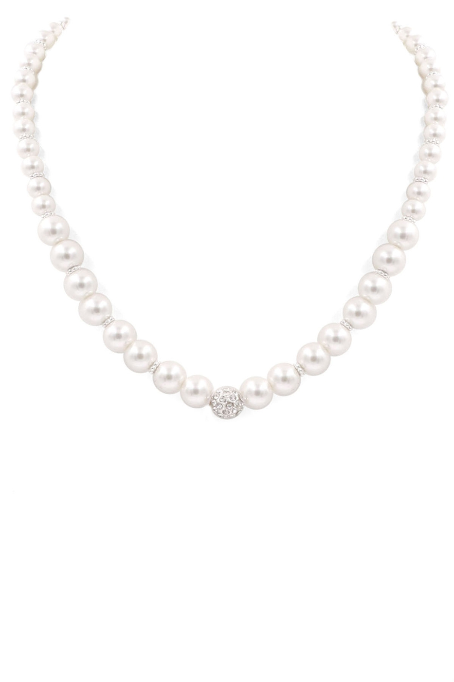 Cream Pearl Pave Necklace - orangeshine.com