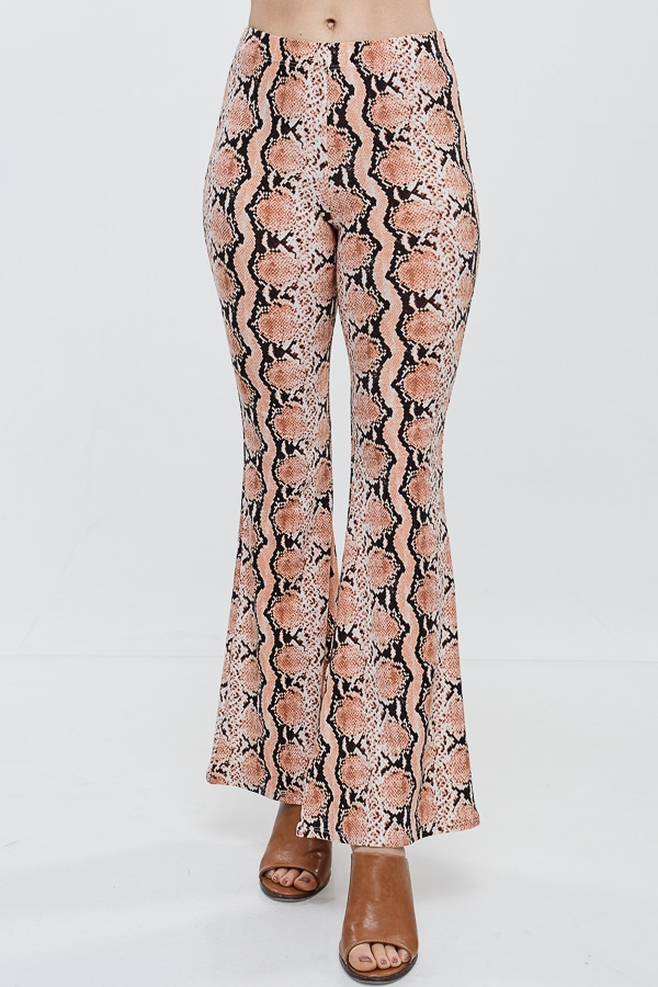 Snake Print Bell Bottom Leggings - orangeshine.com