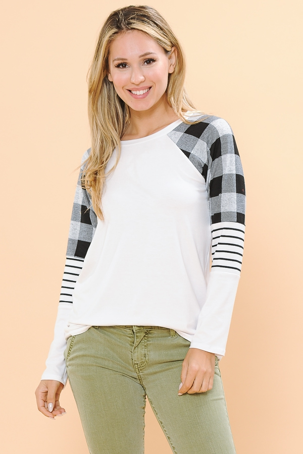 PLAIN TOP WITH COLOR BLOCK SLEEVES - orangeshine.com