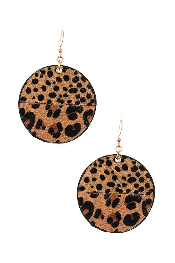 MIX ANIMAL PRINT ROUND DROP EARRING - orangeshine.com