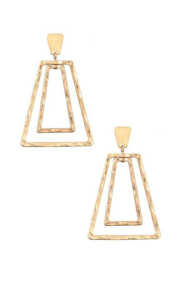 HAMMERED TRAPEZOID DANGLE EARRING  - orangeshine.com