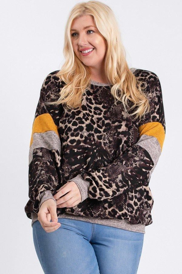 Animal print with contrast sweatshir - orangeshine.com