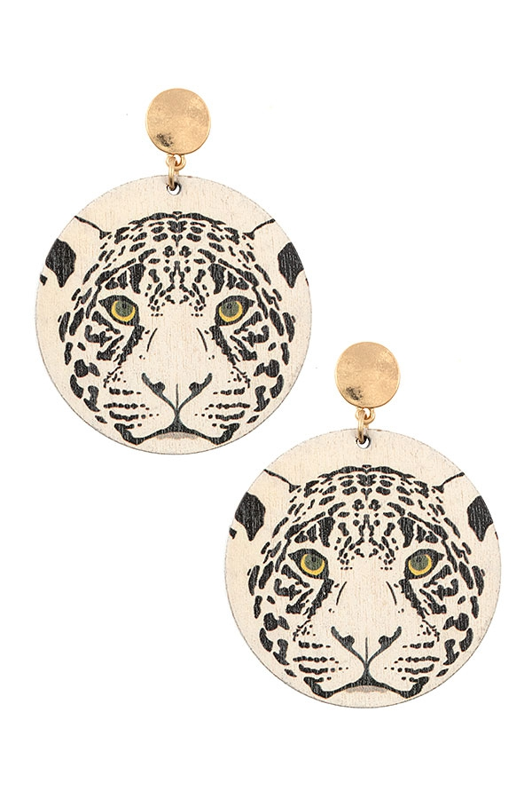 WOODEN CHEETAH PRINT DROP EARRING - orangeshine.com