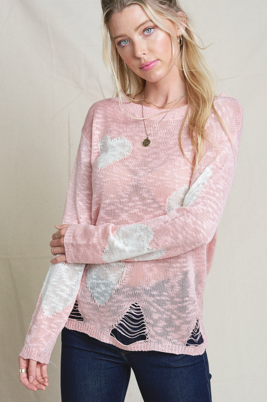 Destroyed Heart Dot Sweater - orangeshine.com