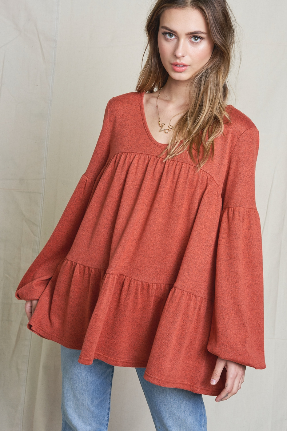 V-neck Long Sleeve Tiered Top - orangeshine.com