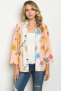 BLUSH FLORAL WITH DOTS KIMONO - orangeshine.com