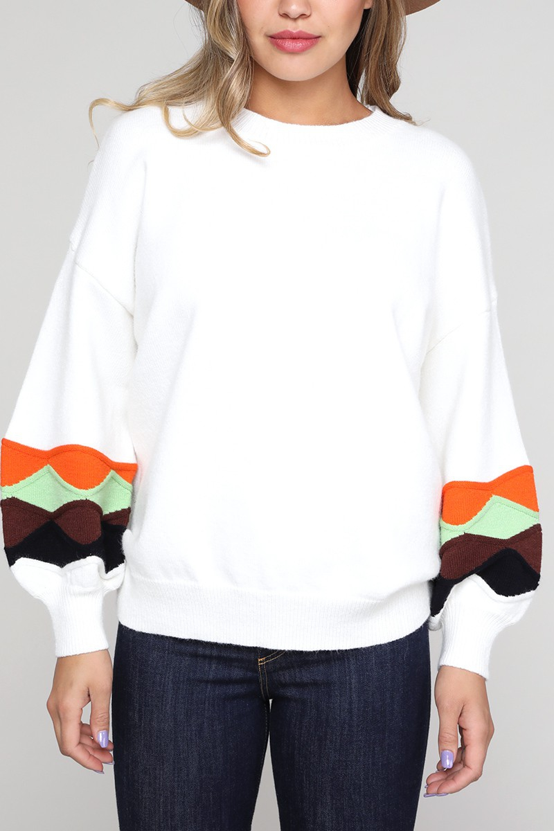Abstract Color Block Sleeve Pullover - orangeshine.com