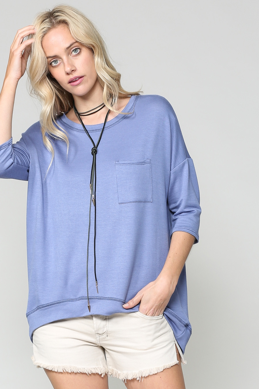 ROUND NECK FRENCH TERRY SHIRT - orangeshine.com