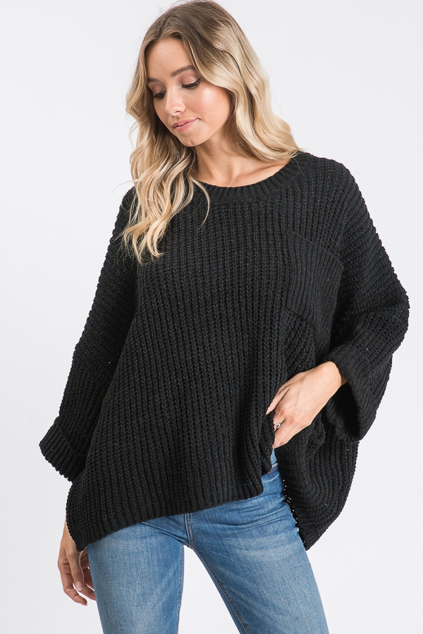WIDE SLEEVES SOLID SWEATER WITH FRON - orangeshine.com