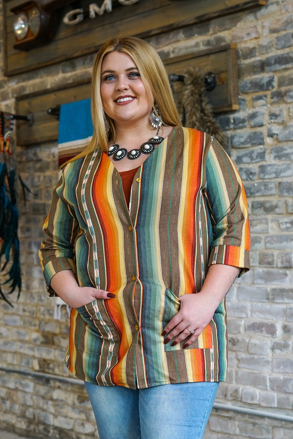 MOCHA SERAPE BUTTON DOWN DRESS PLUS - orangeshine.com