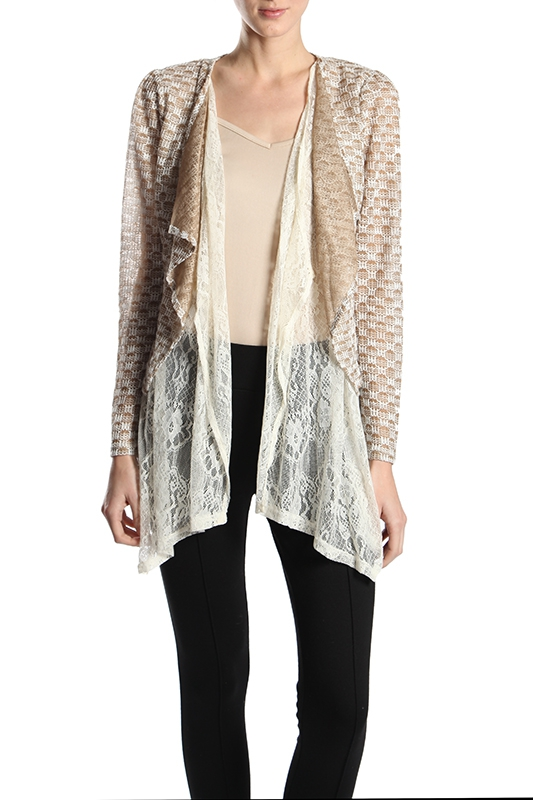 RJ4942 DOUBLE LACE LAYERED CARDIGAN - orangeshine.com
