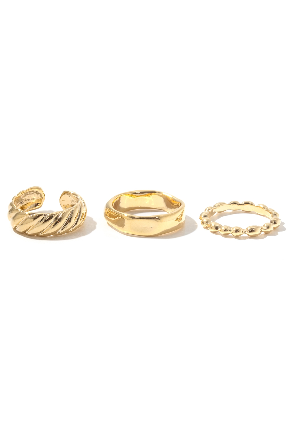 3 Piece Mix Style Metallic Band Ring - orangeshine.com