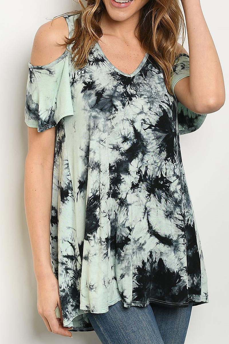 TIE DYE COLD SHOULDER V NECK TUNIC - orangeshine.com