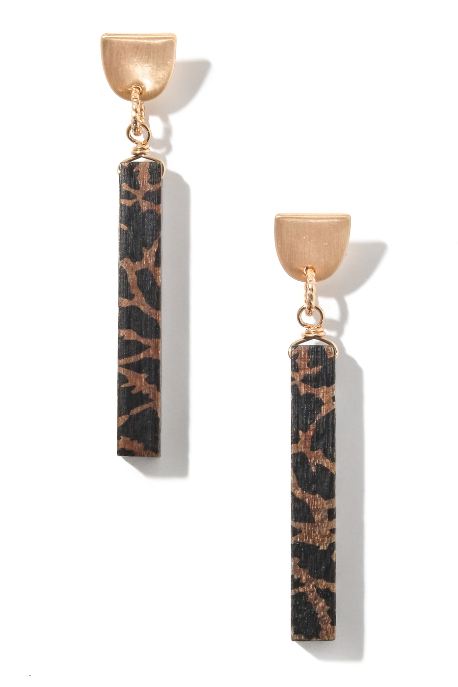 Abstract Wooden Bar Drop Earrings - orangeshine.com