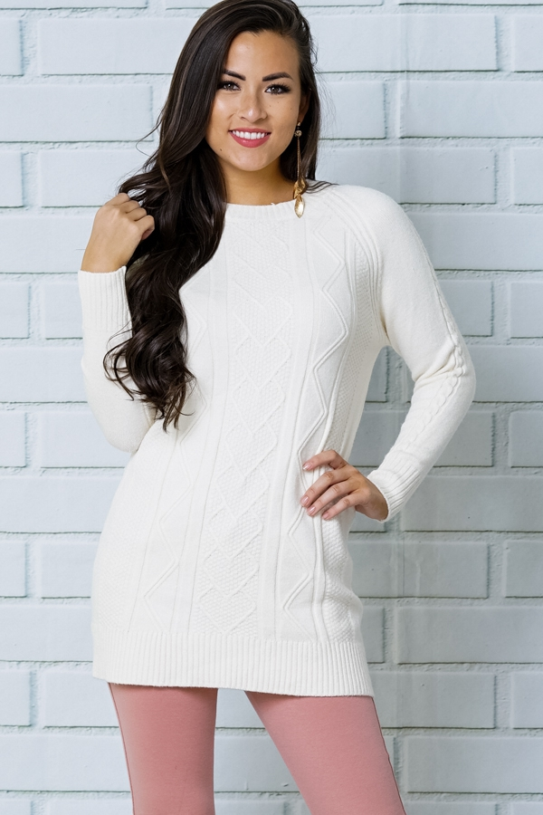 RIBBED NECK CABLE KNIT FRONT TUNIC S - orangeshine.com