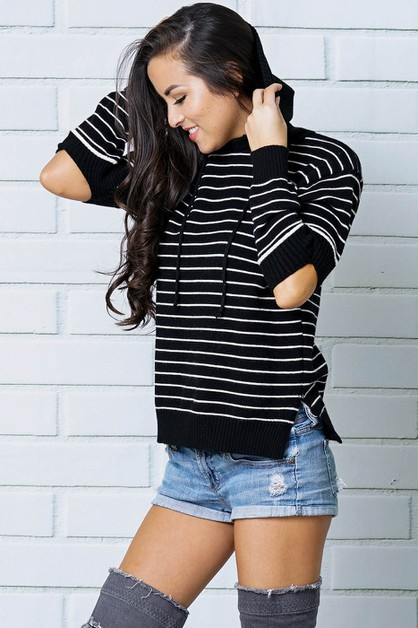 STRIPED RIBBED ELBOW CUTOUT PULLOVER - orangeshine.com