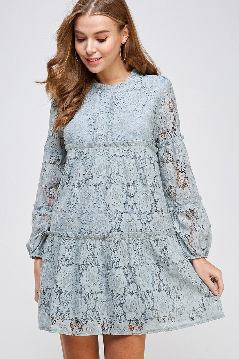 Tiered and Ruffled Lace Dress - orangeshine.com