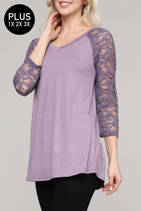 Floral Lace Sleeve Solid Top - orangeshine.com