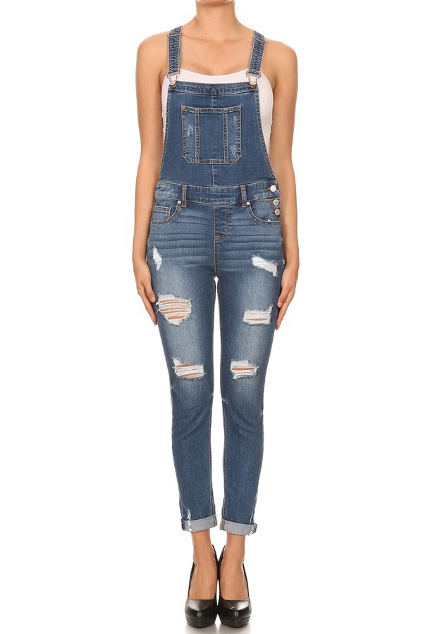 Chic Distressed Denim Overall Pants - orangeshine.com