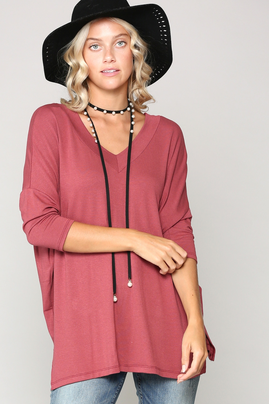 CASUAL V NECK TOP - orangeshine.com