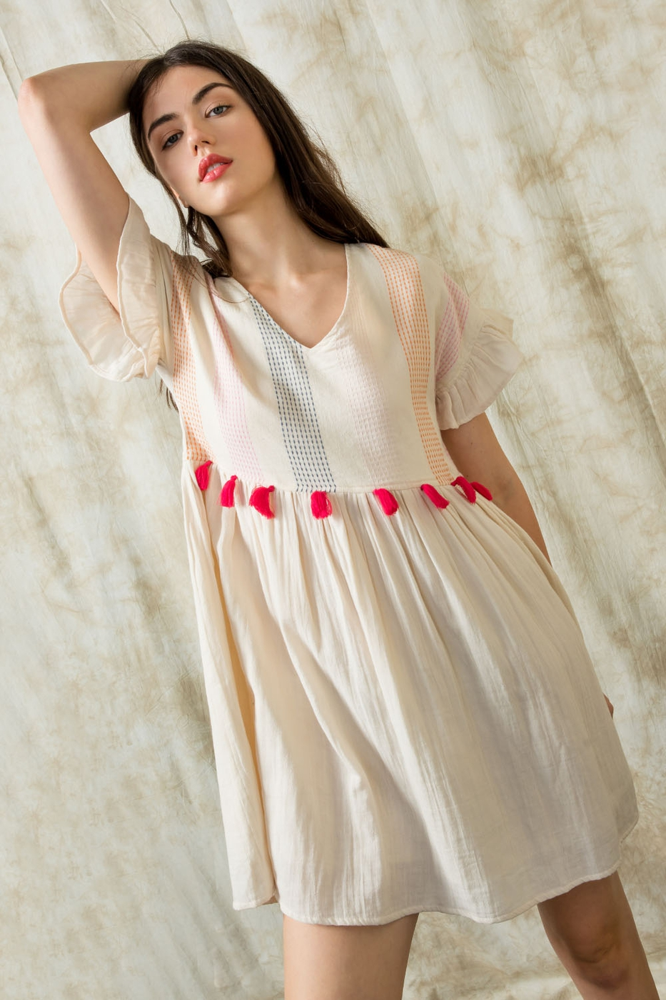 Flutter Short Sleeve Tassel Dress - orangeshine.com