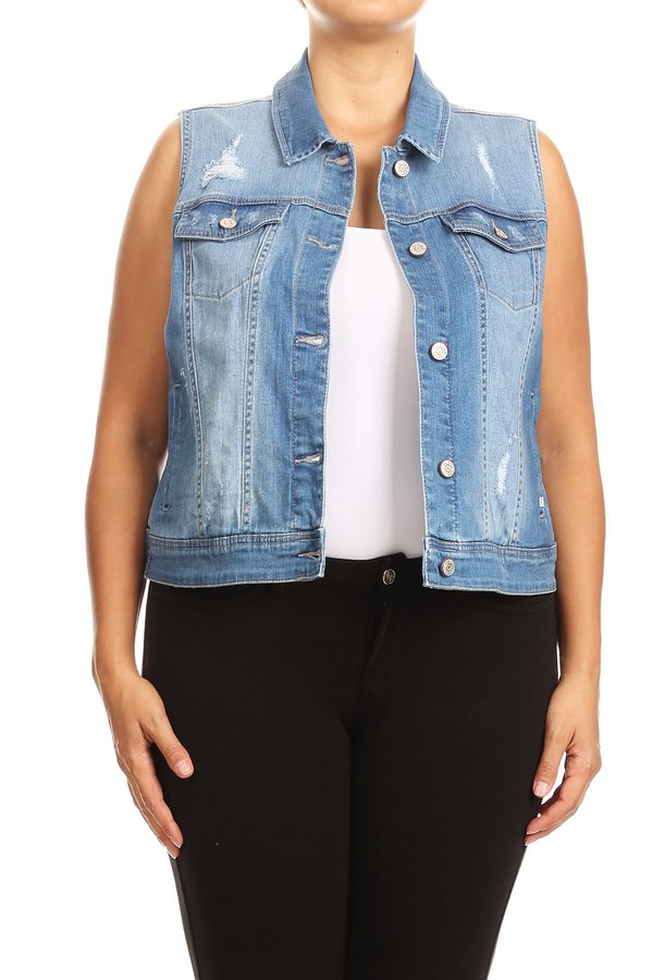 Plus Distressed Cropped Denim Vests - orangeshine.com