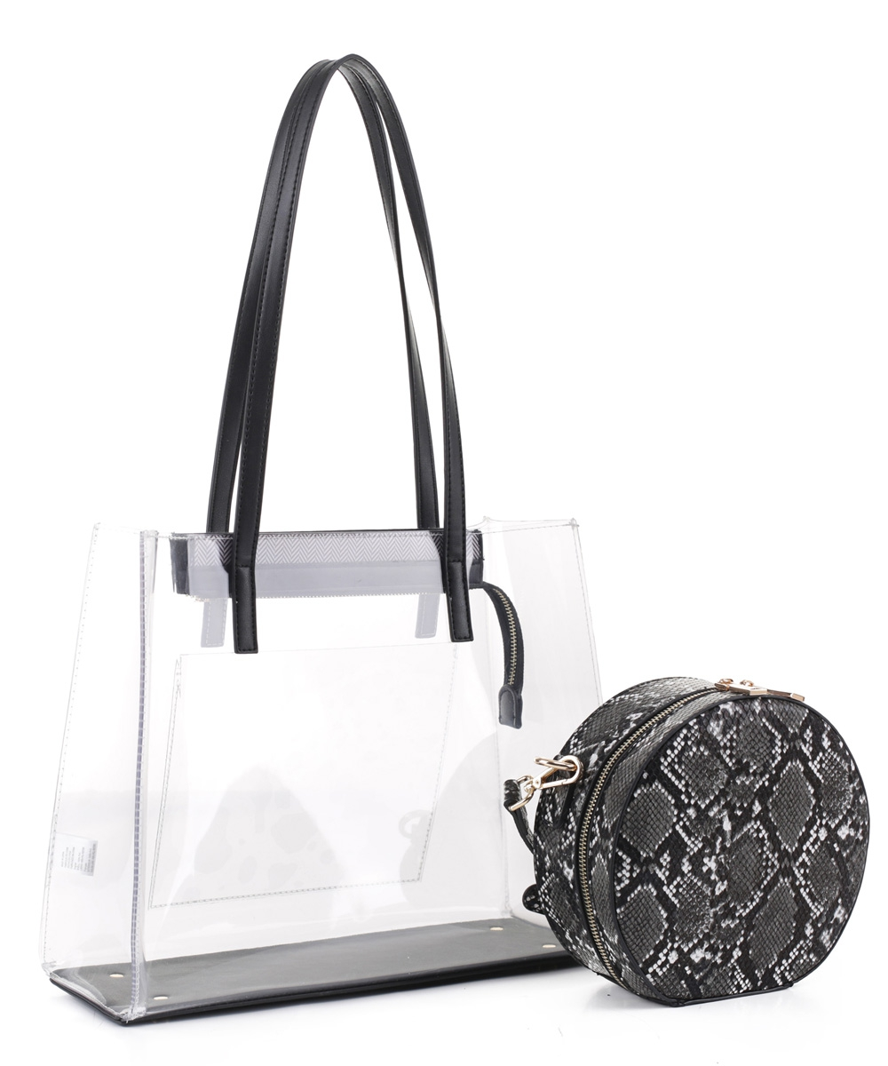 Clear Tote With Snakeskin Round Clut - orangeshine.com