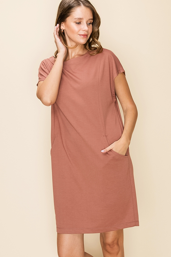 BOAT NECK CAP SLEEVE TUNIC DRESS - orangeshine.com