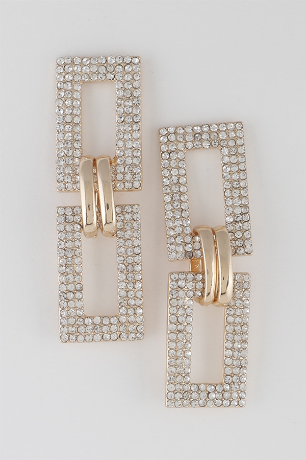 Rhinestone Chain Drop Earrings - orangeshine.com