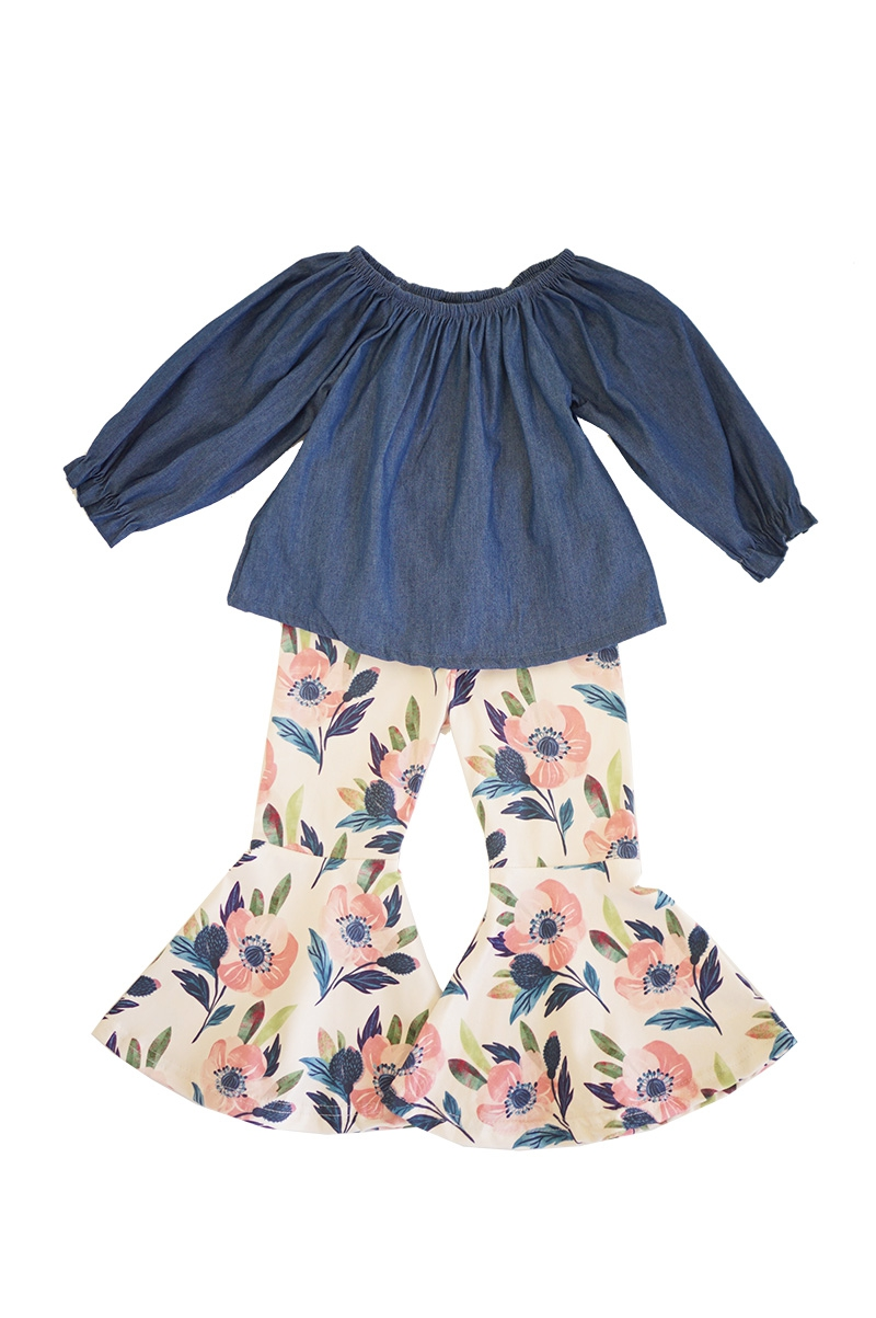 Denim top with floral bell pants set - orangeshine.com