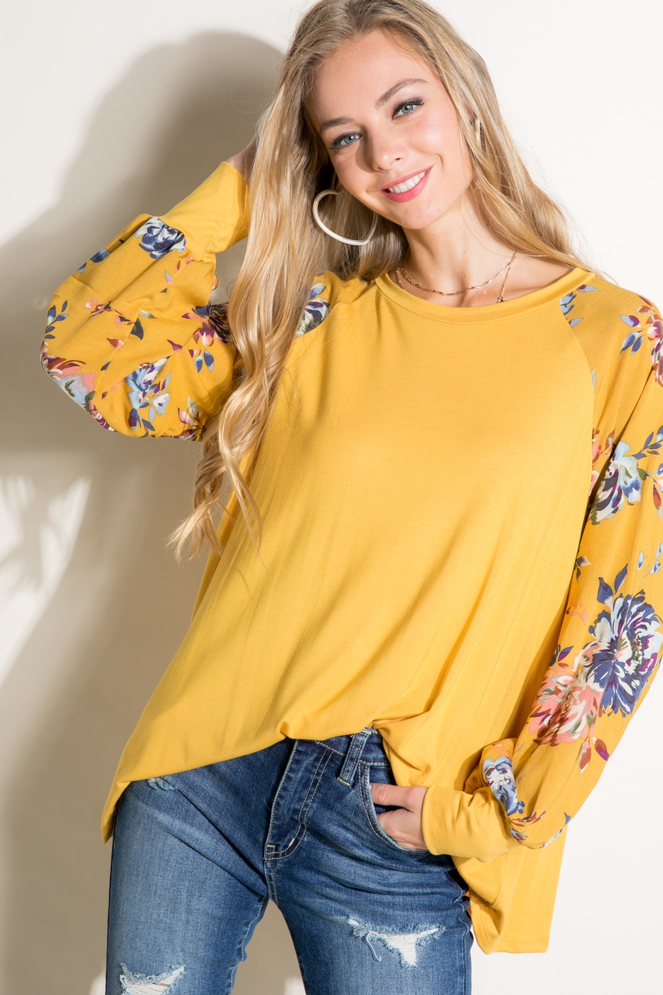 FLORAL SOLID MIXED PUFF SLEEVE TOP - orangeshine.com