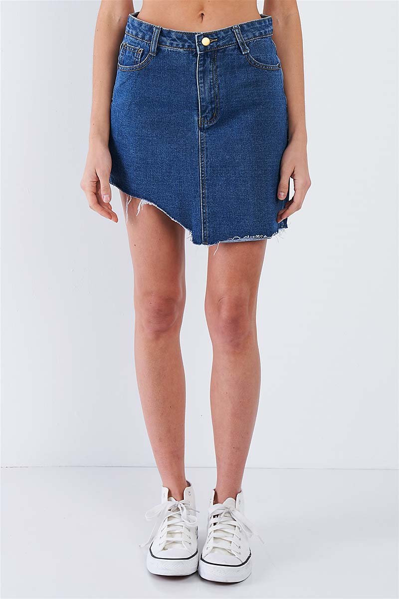 ASYMMETRICAL RAW CUT HEM MINI SKIRT  - orangeshine.com