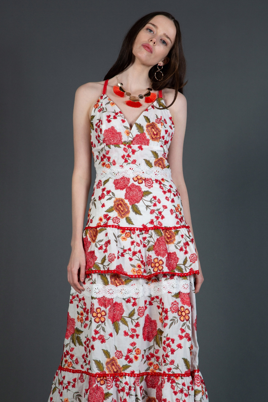 Maxi Dress with Floral Embroidery - orangeshine.com