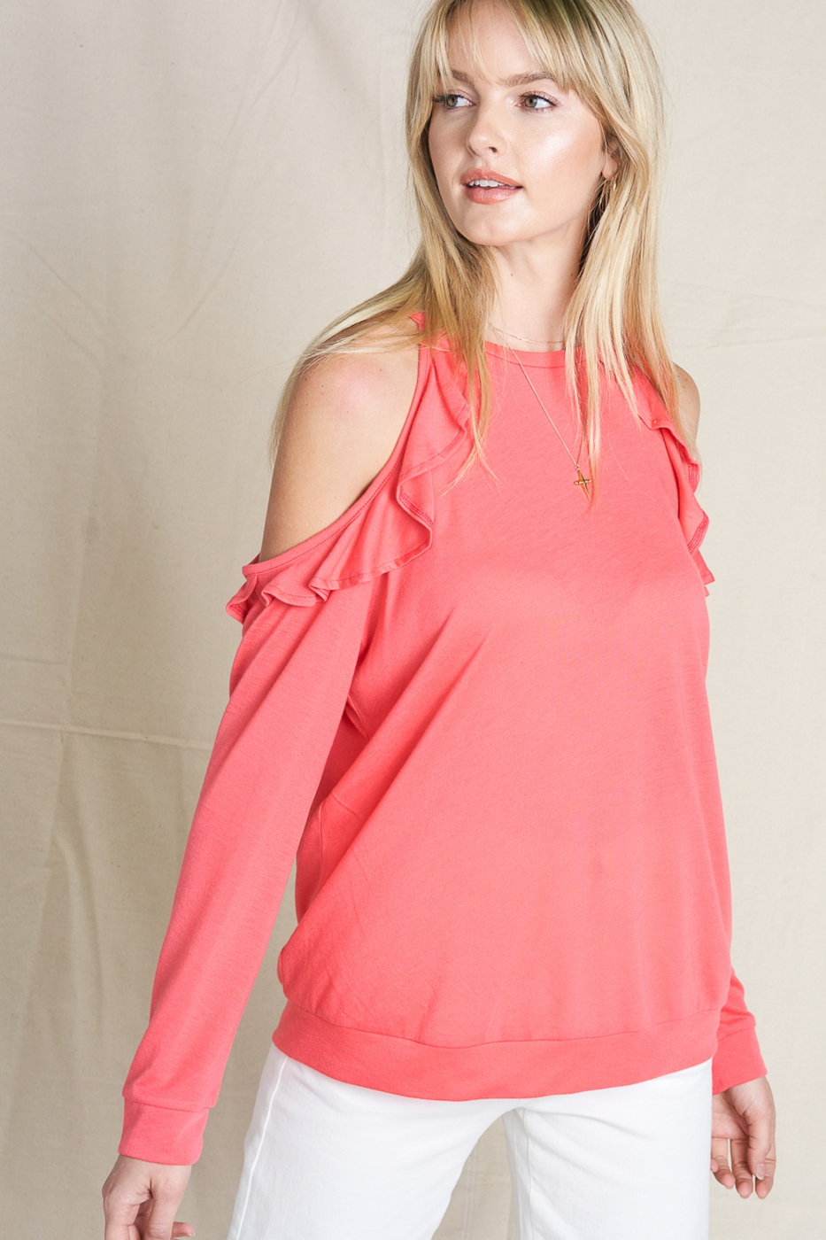 Ruffle Cold Shoulder Top - orangeshine.com
