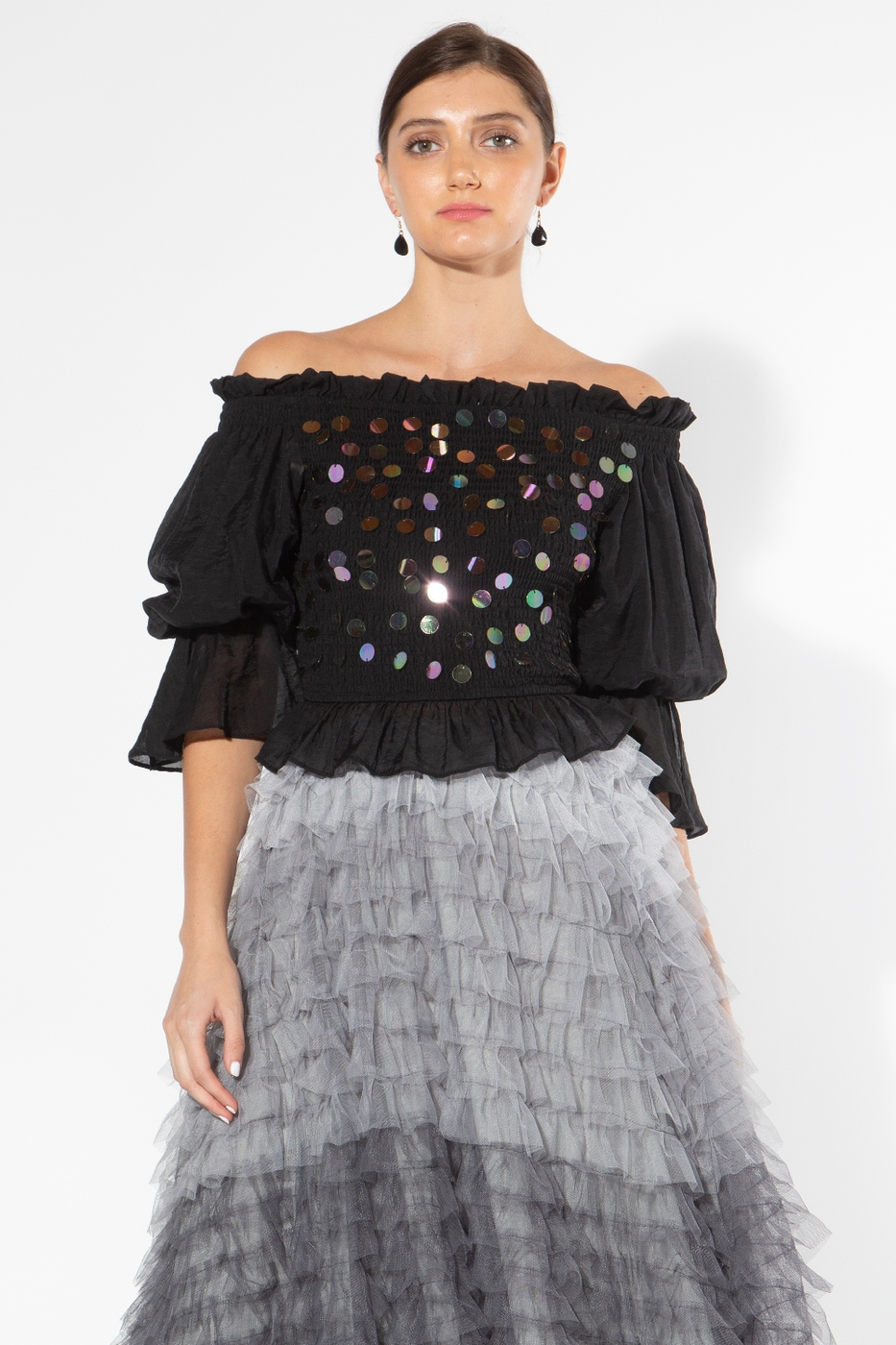 Off Shoulder Top with Sequin Details - orangeshine.com
