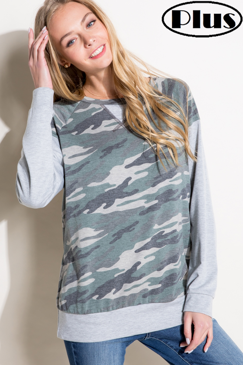SOLID CAMOUFLAGE SWEATSHIRT PLUS TOP - orangeshine.com