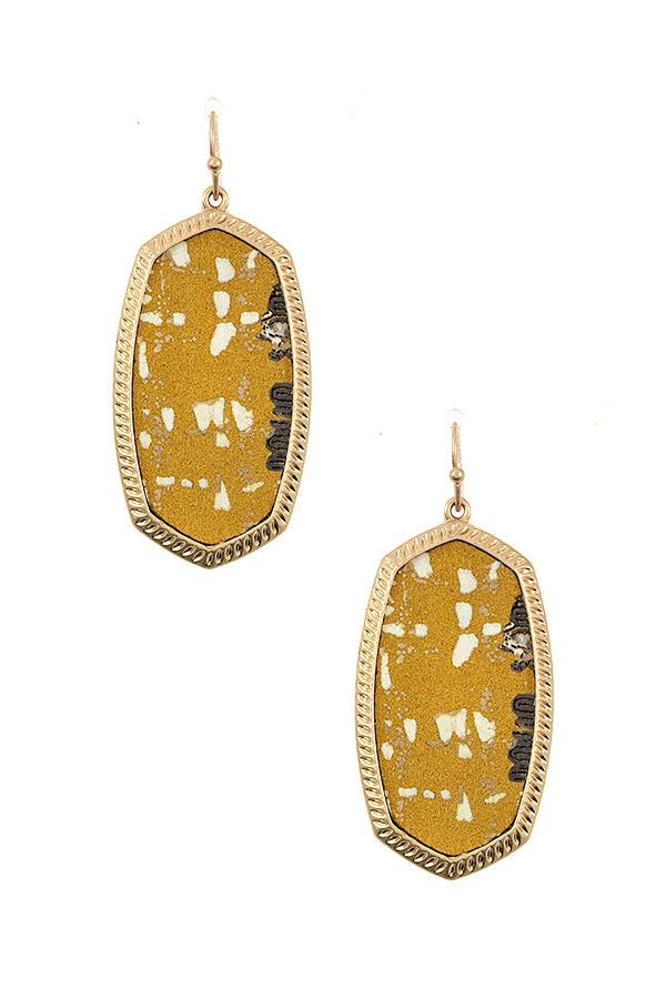 FABRIC PRINT FRAMED OVAL EARRING - orangeshine.com
