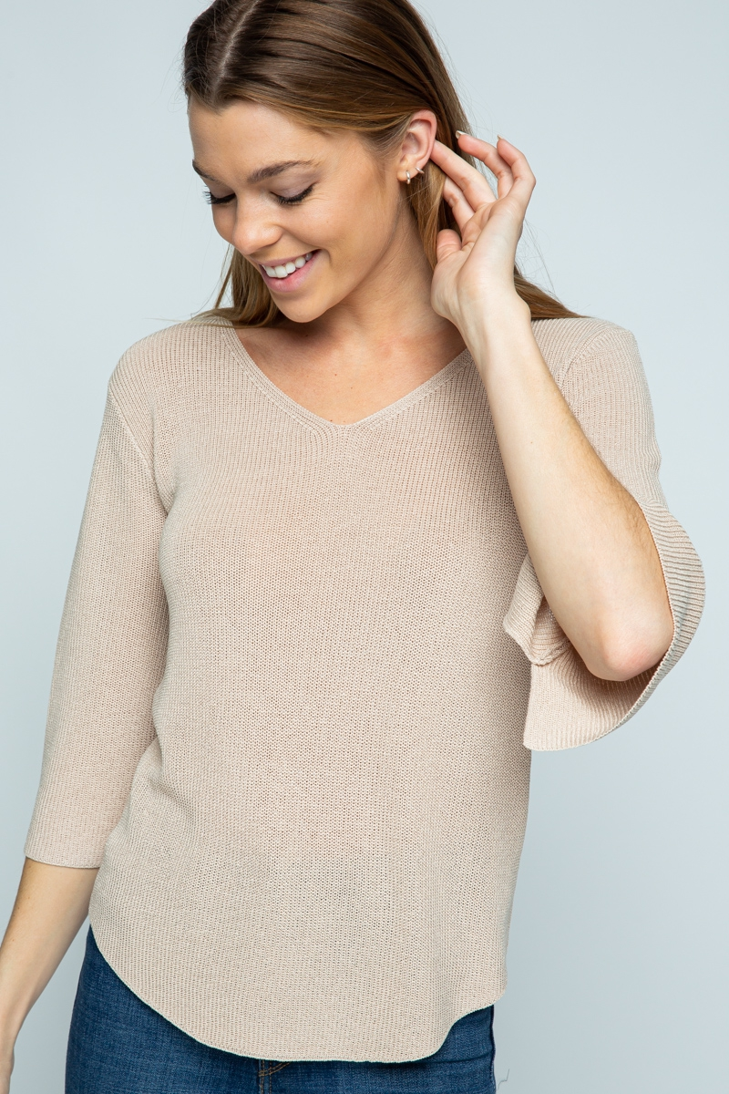 SOLID COLOR V NECK SWEATER - orangeshine.com