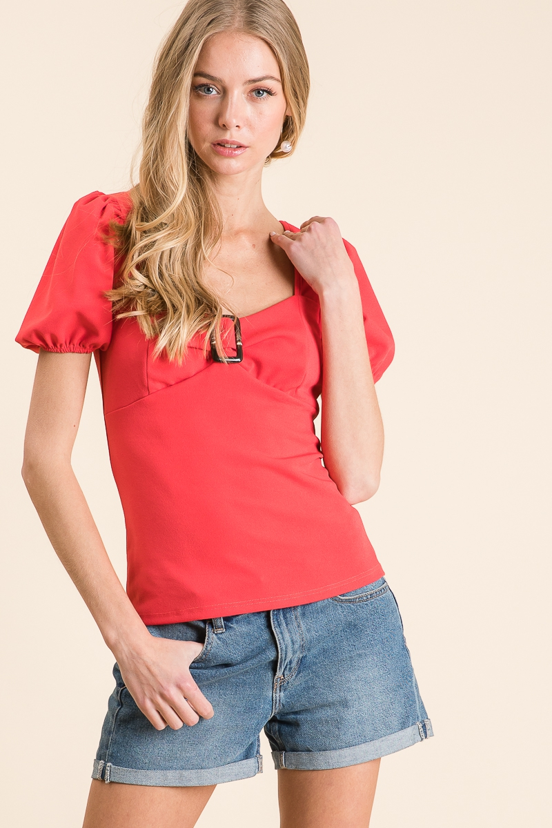 PUFF SLEEVES FITTED BUCKLE TOP - orangeshine.com