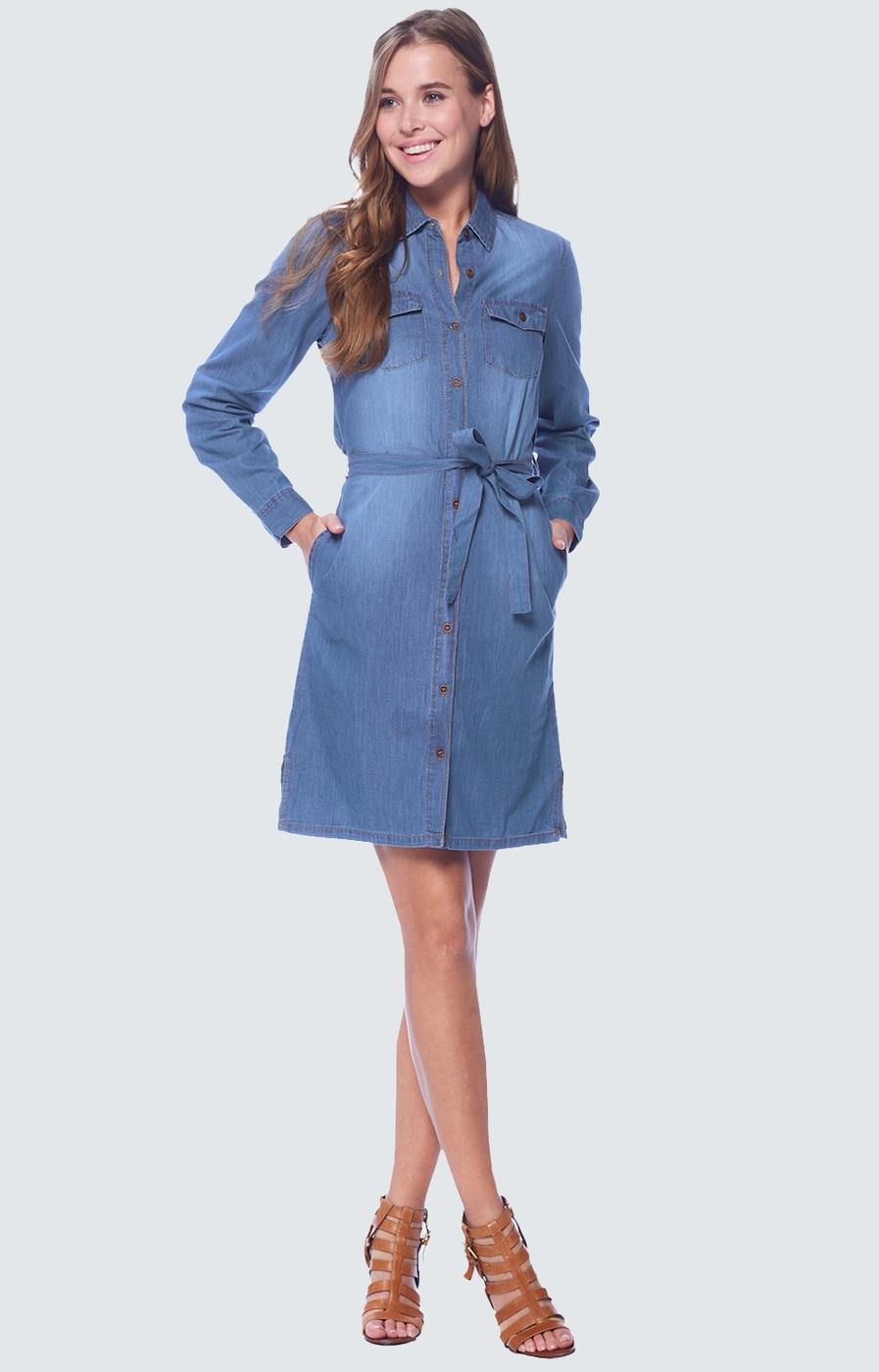 Denim Shirt Dress  - orangeshine.com