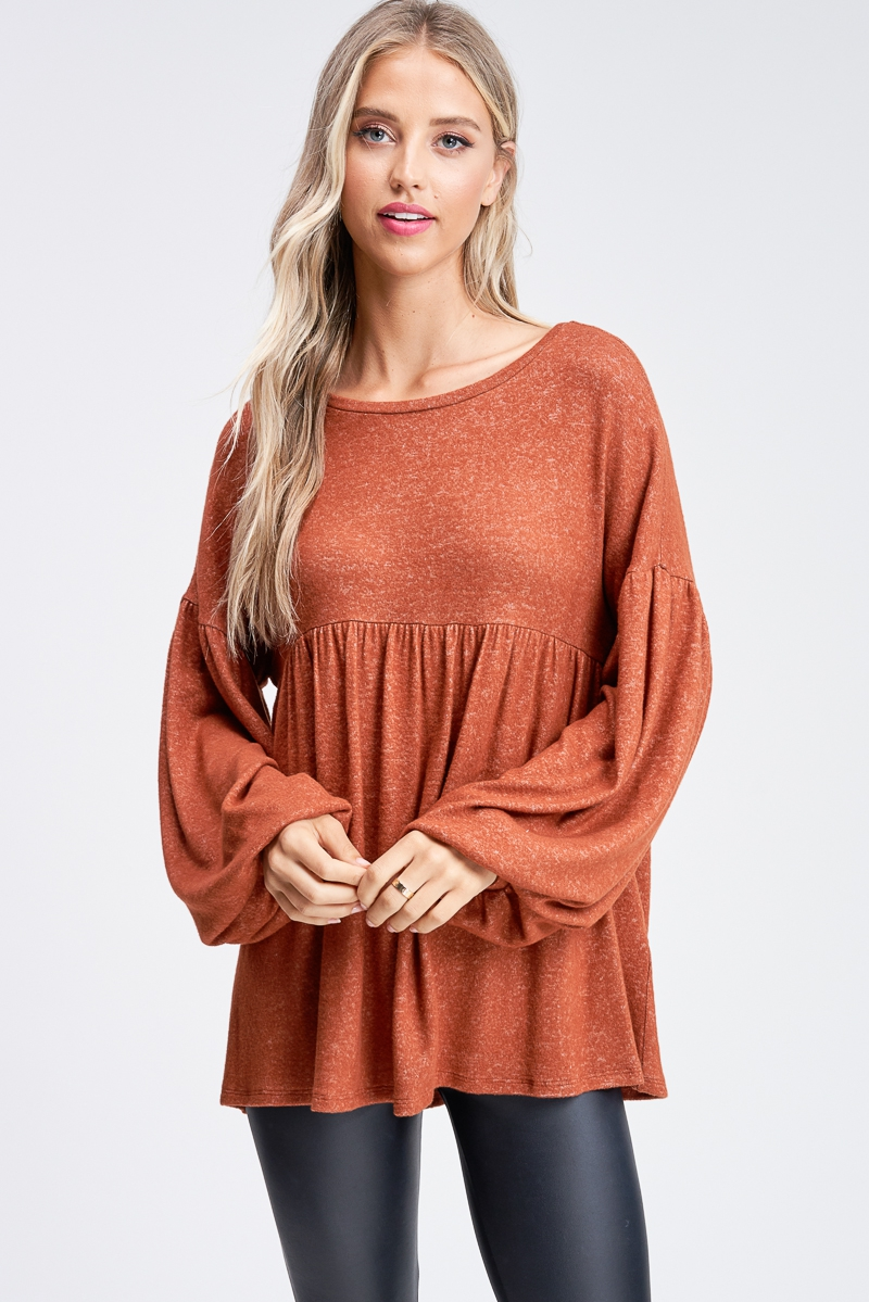 Long Sleeve Solid Knit Top - orangeshine.com
