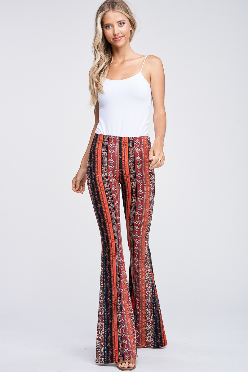Multi Print Knit Bell Bottom Legging - orangeshine.com