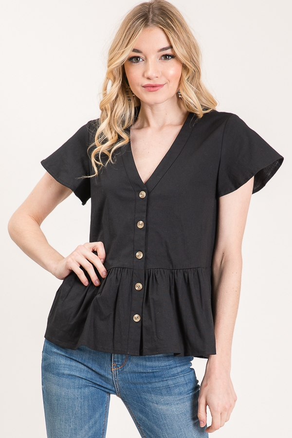 SOLID BABY DOLL TOP WITH BUTTONS - orangeshine.com