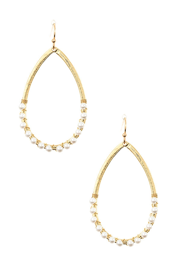 WIRED PEARL TEARDROP EARRING - orangeshine.com