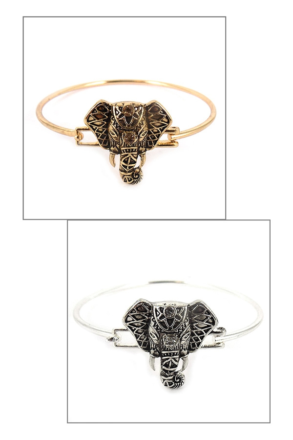 ELEPHANT FACE PUSH BANGLE BRACELETS - orangeshine.com